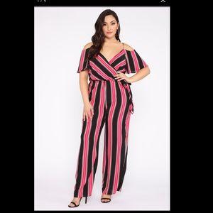 Fashion nova stripe jumpsuit